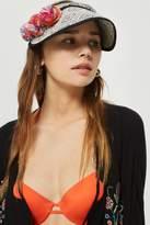 Topshop Straw Visor Pom Pom Hat