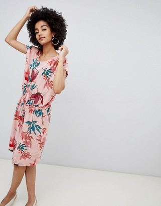 Soaked In Luxury Tropical Print Dress-Multi