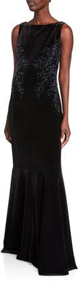 Rickie Freeman For Teri Jon Sleeveless Back Drape Velvet Fishtail Gown with Beaded Trim
