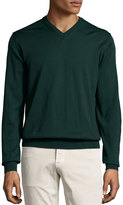 Neiman Marcus Wool V-Neck Sweater, Green Lake