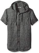 Kenneth Cole Reaction Men's Short Sleeve Hood Horizontal Multi Spripe Woven Shirt