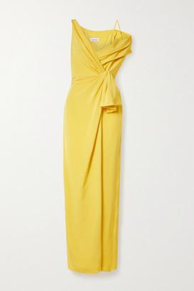 Cushnie Asymmetric Wrap-effect Silk-crepe Gown - Yellow