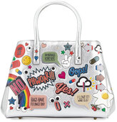 Anya Hindmarch Ebury Maxi All Over Wink Sticker Shopper Bag, Silver/Multi
