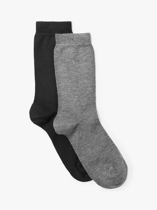 John Lewis & Partners Solid Colour Ankle Socks, Pack of 2, Black/Grey