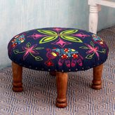 Novica Seesham Wood Cotton Rayon 'Elephant Blooms' Foot Stool (India)