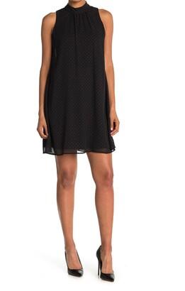 Tommy Hilfiger Sleeveless Chiffon Dot Trapeze Dress