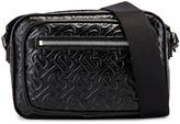 Burberry Monogram Leather Crossbody Bag in Black | FWRD