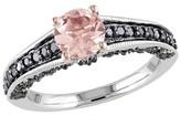Allura 4/5 CT. T.W. Morganite and 1/3 CT. T.W. Black Diamond Ring in Sterling Silver