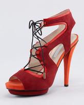 Tone-on-Tone Lace-Up Sandal