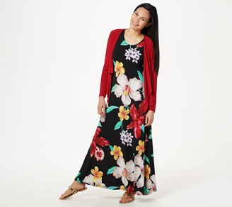 Women With Control Attitudes by Renee Regular Printed Maxi Dress with Cardigan