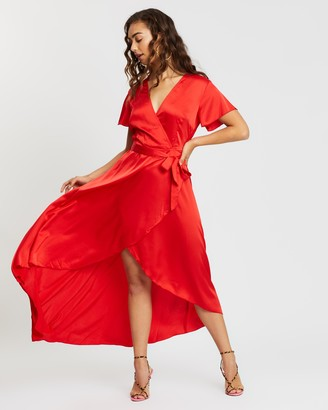 Missguided High-Low Wrap Midi Dress