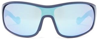 Moncler Mirrored-lens Logo-stripe Acetate Cycle Sunglasses - Blue