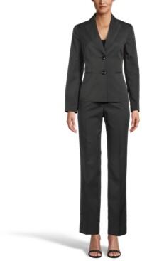 Le Suit Petite Pinstripe Pantsuit