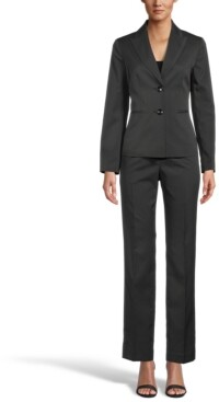 Le Suit Two-Button Pinstripe Pantsuit