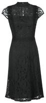 Dorothy Perkins Womens Black Short Sleeve Lace Skater Dress, Black