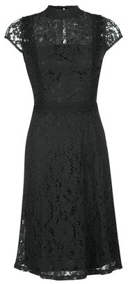 Dorothy Perkins Womens Black Short Sleeve Lace Skater Dress, Black