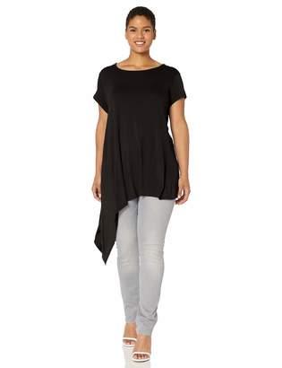 Paper + Tee Women's Plus-Size Scoop Neck Asymmetrical Hem Knit Top