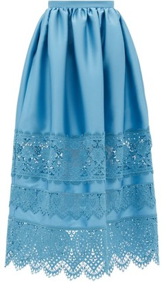 Erdem Jennifer Guipure Lace-trimmed Midi Skirt - Blue