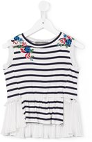 Ermanno Scervino floral embroidery striped blouse