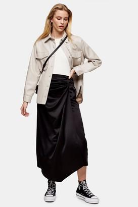 Topshop Black Plain Satin Sarong Skirt