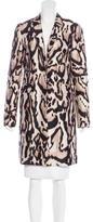 Diane von Furstenberg Leopard Print Knee-Length Coat