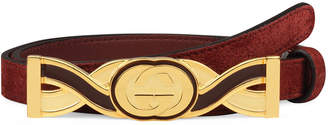 Gucci Suede Belt w/ Twisted Enamel Buckle
