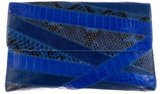 Nancy Gonzalez Large Crocodile-Trimmed Clutch