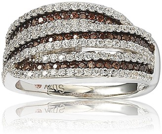 Suzy Levian Sterling Silver White & Chocolate CZ Ring