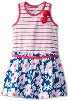 Le Top Bloom Drop Waist Dress w/ Stripe Bodice Chiffon Flowers (Toddler/Little Kids)