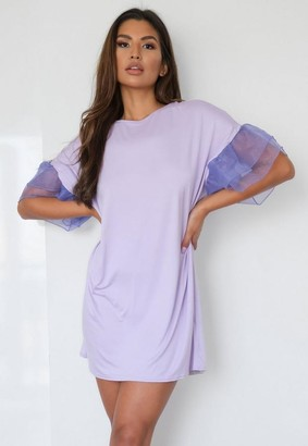 Missguided Lilac Organza Sleeve T Shirt Dress