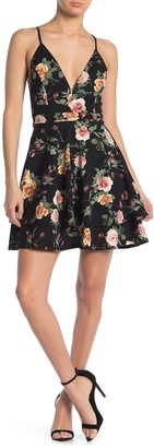 Love, Nickie Lew Low Cut V-Neck Floral Print Skater Dress
