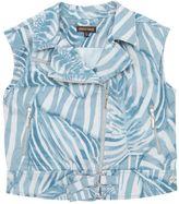 Roberto Cavalli Zebra Printed Denim Vest