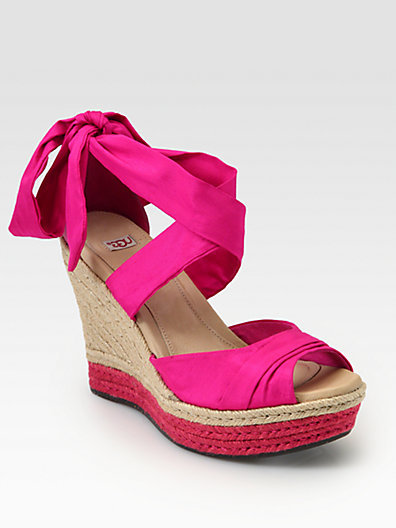 UGG Lucianna Silk & Leather Espadrille Wedges