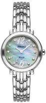 Seiko Tressia Solar Diamond Silvertone Stainless Steel Bracelet Watch