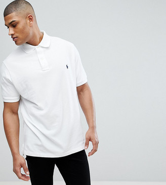 Polo Ralph Lauren Big & Tall player logo pique polo in white