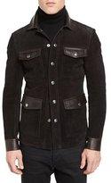 Tom Ford Suede & Leather 4-Pocket Shirt Jacket, Brown