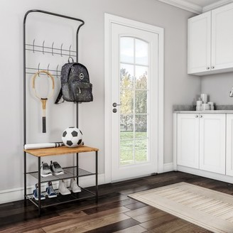 Entryway Storage Rack- Metal Hall Tree with Bench, 9 Coat Hooks & Shoe Storage- Rustic Farmhouse Design Freestanding Mudroom Furniture by Lavish Home