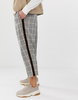 Asos Design DESIGN drop crotch tapered smart trouser in check with velvet side stripe-Brown