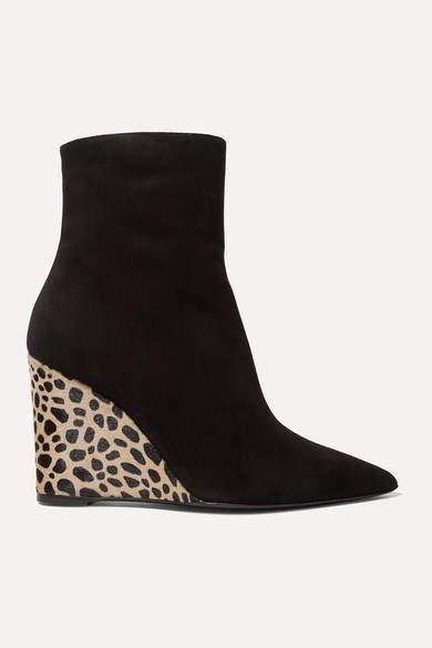 Giuseppe Zanotti Kanda Suede And Leopard-print Calf Hair Ankle Boots - Black