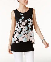 Alfani Petite Floral-Print Crop-Overlay Top, Only at Macy's