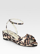 Alice + Olivia Alexi Leopard-Print Canvas Wedge Sandals