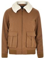 River Island Mens Brown wool-blend harrington jacket