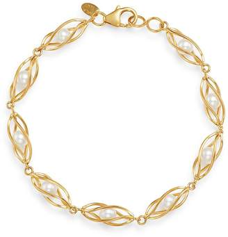Bloomingdale's Freshwater Pearl Cage Bracelet in 14K Yellow Gold - 100% Exclusive