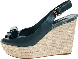 Louis Vuitton Green Leather Wedge Espadrille Peep Toe Platform Slingback Sandals Size 39.5