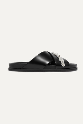 Simone Rocha Embellished Leather Slides - Black