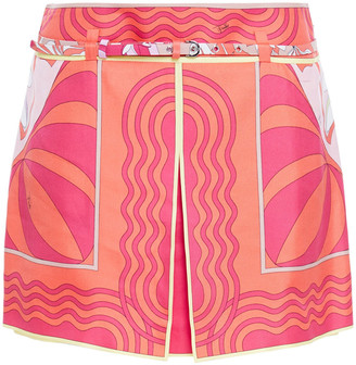 Emilio Pucci Layered Printed Silk-twill Shorts