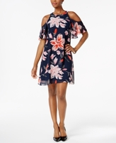 Jessica Howard Petite Floral-Print Cold-Shoulder Dress