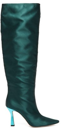 Wandler Lina Point-toe Slouch Satin Knee-high Boots - Dark Green