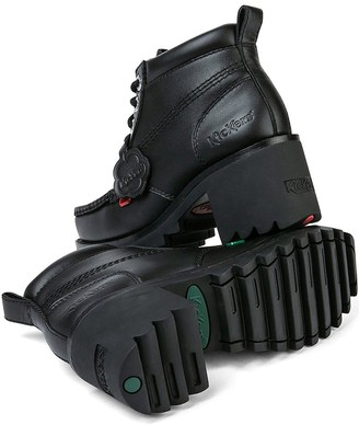 Kickers KlioKick Hi Leather Heeled Ankle Boot - Black