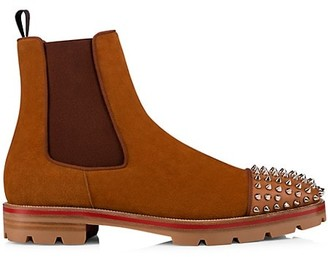 Christian Louboutin Melon Spikes Suede Chelsea Boots